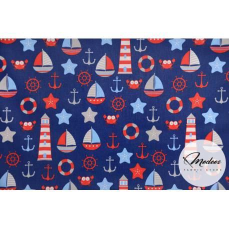 Tkanina bałtyk na granatowym tle - bawełna wzór marynarski