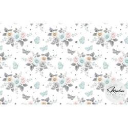 Tkanina szare kwiaty na białym tle - bawełna ricardo