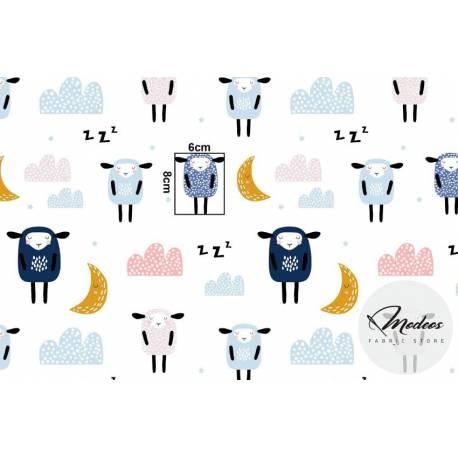 Materiał śpiące owieczki na białym tle - bawełna tkanina