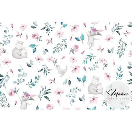 Materiał hipopotamy króliki kwiaty- bawełna tkanina