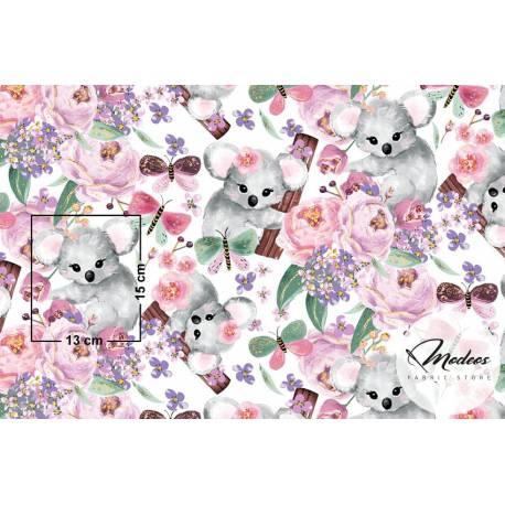 Materiał misie koala i kwiaty - tkanina bawełna