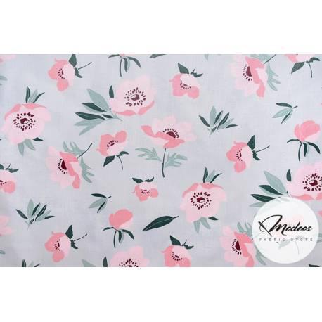 Materiał maki kwiaty na szarym tle - tkanina bawełna