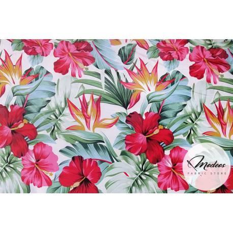 Materiał w kwiaty, liście - tkanina wzór tropikalny