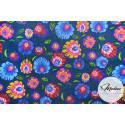 Tkanina wzór łowicki, kwiaty na granatowym tle - materiał bawełna