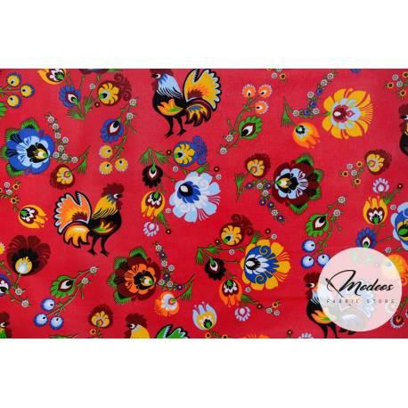 Tkanina koguty łowickie kwiaty na czerwonym tle