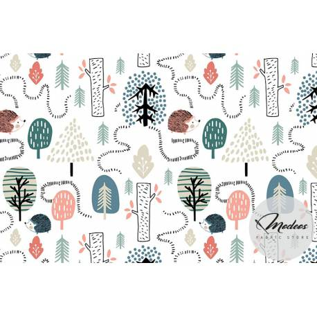 Materiał jeż w lesie - tkanina bawełna