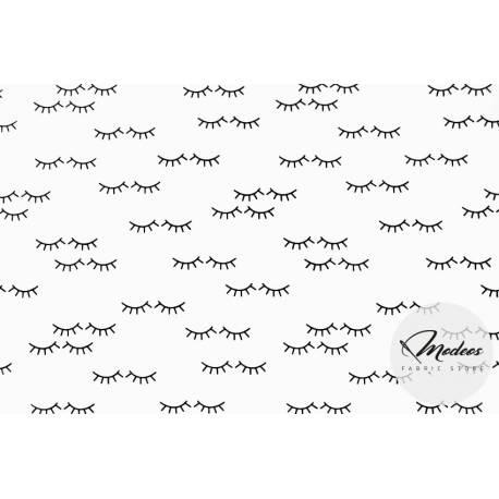 Tkanina rzęsy oczy na białym tle - materiał bawełna