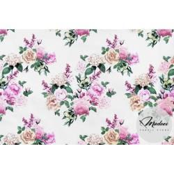 Materiał bukiety kwiatów na białym tle - tkanina bawełniana