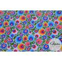 Tkanina wzór łowicki, kwiaty na szarym tle - materiał bawełna