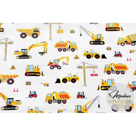 Materiał pojazdy budowlane, koparki na białym tle - bawełna
