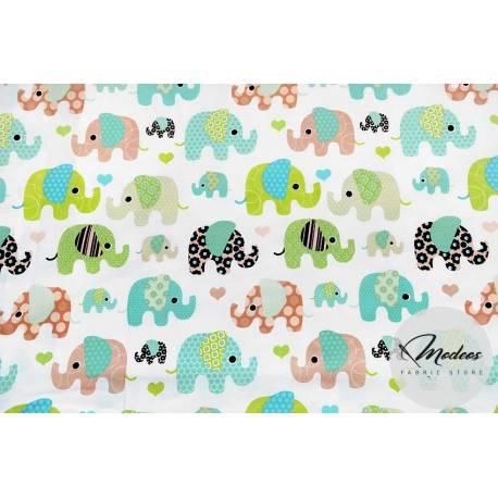 Tkanina słonie miętowe - materiał bawełna