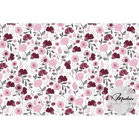Materiał bratki bordowe kwiatki różowe - tkanina bawełniana