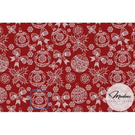 Bombki na czerwonym tle - bawełna świąteczna