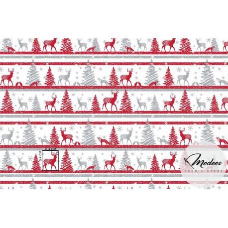 Czerwone renifery i białe śnieżynki - bawełna świąteczna