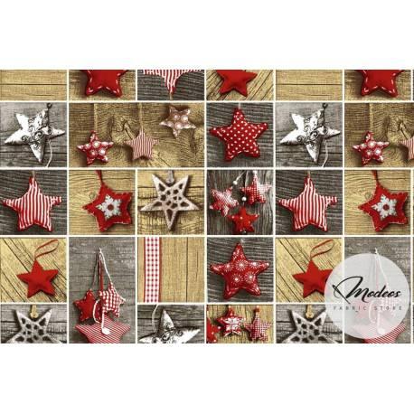 Materiał święteczny patchwork gwiazdki - tkanina świąteczna