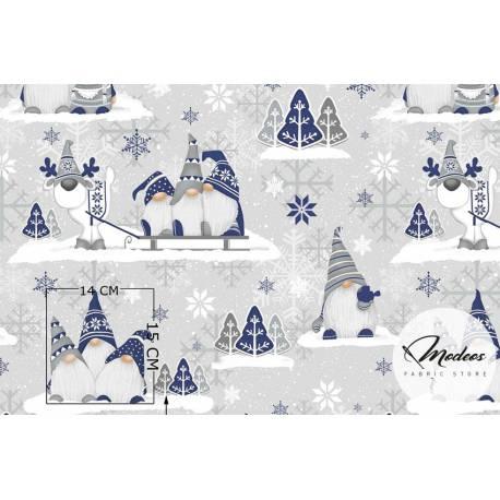 Bałwanki choinki śnieżynki - tkanina bawełniana