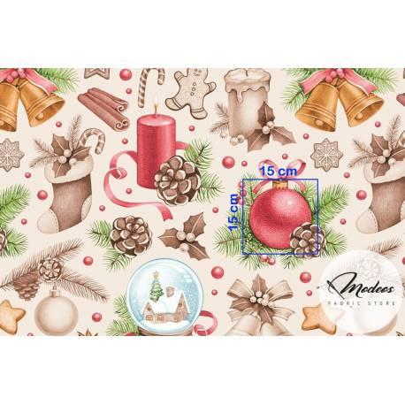 Bawełna dekoracje ozdoby na ecru - materiał świąteczny