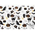 Materiał halloween pomarańczowo czarny - tkanina bawełniana