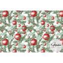 Materiał gałązki i bombki czerwone - bawełna wzór świąteczny