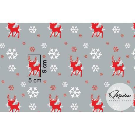 Materiał renifery i śnieżynki na szarym tle - tkanina świąteczna