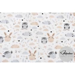 Materiał króliczki i sowy - tkanina bawełna polana