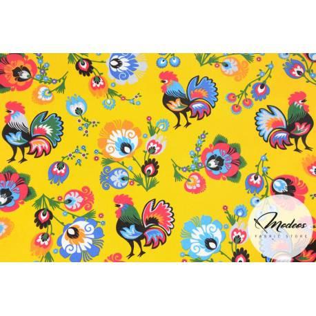 Materiał koguty łowickie kwiaty na żółtym tle - bawełna tkanina