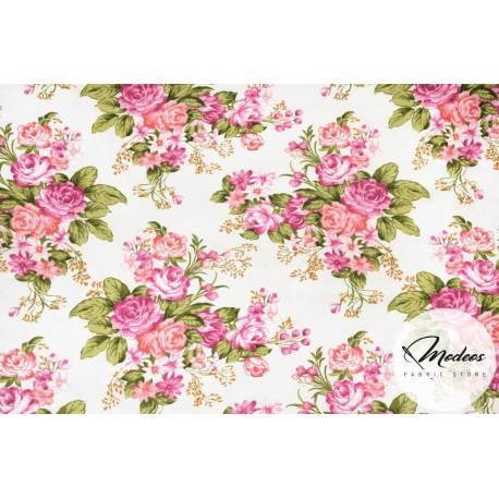 Tkanina w kwiaty róże liście na ecru - materiał bawełna