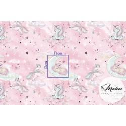 Tkanina jednorożce złocone i chmurki na różowym tle - bawełna