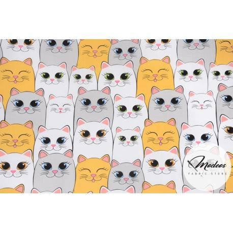 Materiał w koty szare pomarańczowe - tkanina bawełniana