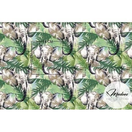 Tkanina słonie w liściach tropikalnych - materiał bawełna
