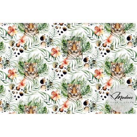 Materiał tygrys w liściach tropikalnych - tkanina bawełna