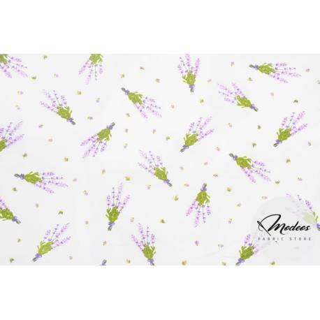 Materiał lawenda na białym tle - bawełna tkanina w kwiaty
