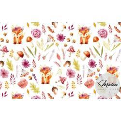 Materiał lisy i kwiaty - tkanina bawełna w liski