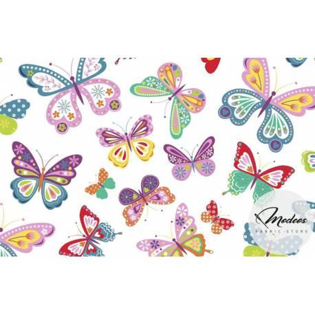 Tkanina w motyle wzorzyste - materiał bawełna