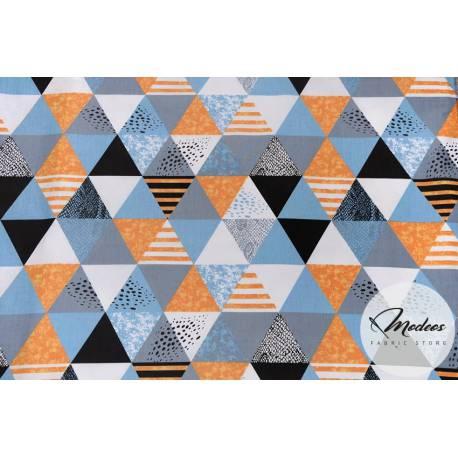Materiał trójkąty niebieskie szare złote - tkanina bawełniana