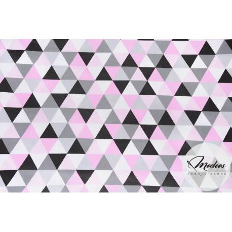 Materiał trójkąty różowe czarne szare - tkanina bawełna