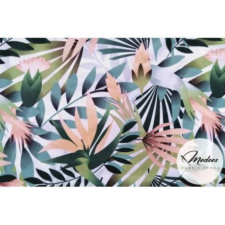Materiał liście tropikalne - tkanina bawełniana