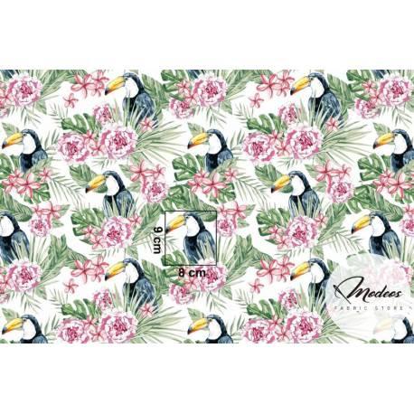 Materiał tukany palmy kwiaty na białym tle - tkanina bawełna