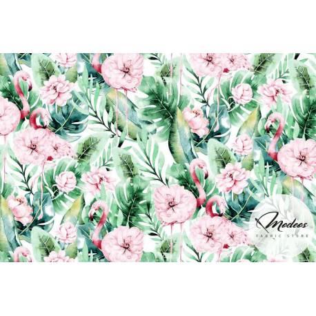 Materiał flamingi liście kwiaty - tkanina bawełniana