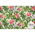 Materiał zielone liście i kwiaty - tkanina bawełniana