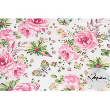 Tkanina w różowe róże i motyle na białym tle - materiał