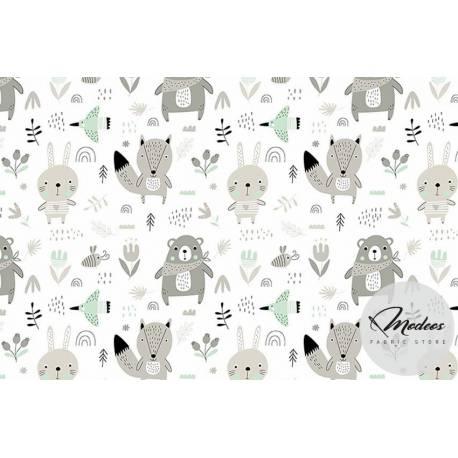Materiał leśne zwierzęta misie miętowe - Tkanina bawełniana