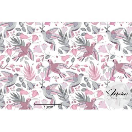 Materiał kolibry szare różowe - bawełna tkanina