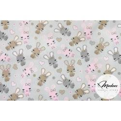 Tkanina króliki i serca na szarym tle - materiał bawełna