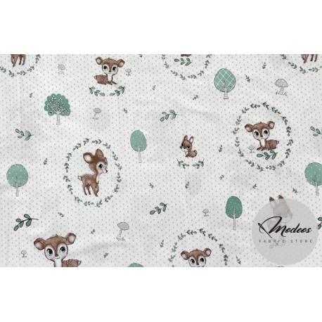 Materiał sarenki brązowe i króliki - tkanina bawełniana