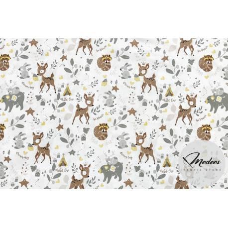 Materiał sarenki leśne zwierzęta - tkanina bawełna