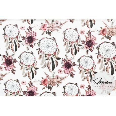 Tkanina różane łapacze snów kwiaty - materiał bawełna