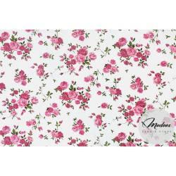 Materiał małe róże na białym tle - bawełna tkanina