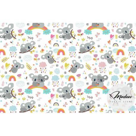 Tkanina misie koala tecza na białym tle - materiał bawełna
