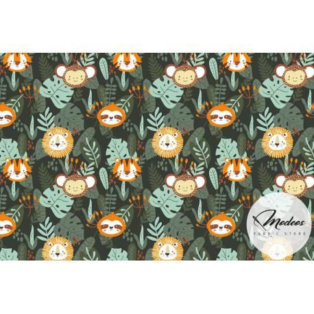 Tkanina zwierzeta w dżungli - materiał bawełna